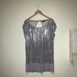 Silver & Grey Sparkle Sequin Michel Studio Top 2X